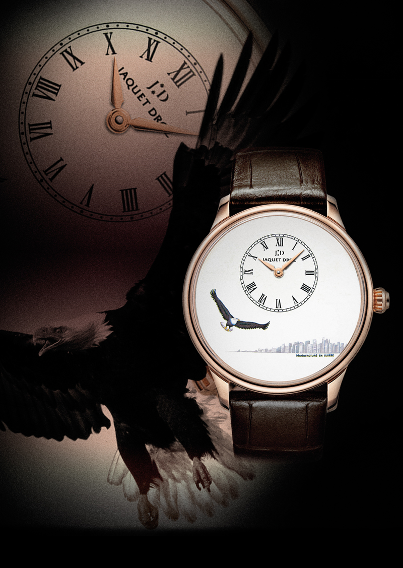 The Jaquet Droz Petite Heure Minute American Eagle is powered by the self winding Jaquet Droz 2653 with 68-hour power reserve.