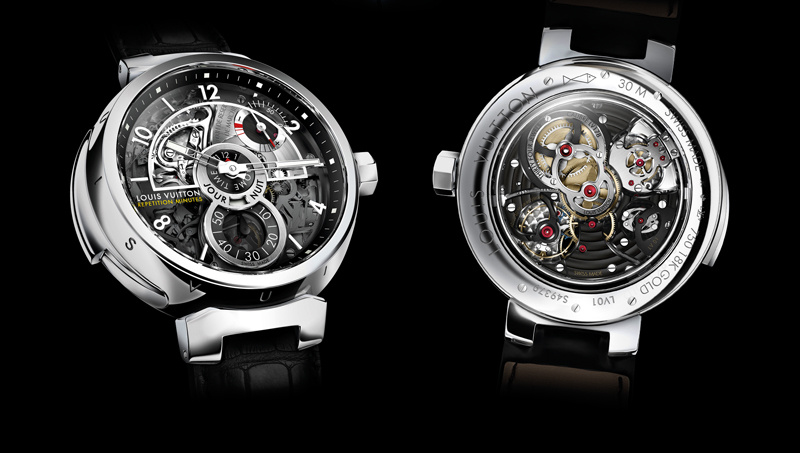 The Louis Vuitton Tambour Minute Repeater is the first grand-complication timepiece designed in collaboration with La Fabrique du Temps, featuring a chiming complication coupled to the reference time-zone so that the emotive sound of a repeating watch is tied to the emotive charge of checking the time in one's home time-zone
