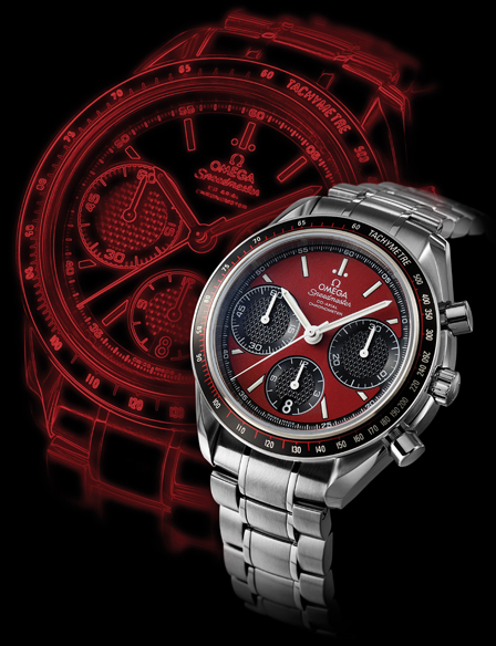 SPEEDMASTER RACING CO-AXIAL WITH RED DIAL This high-precision column-wheel chronograph features Omega's exclusive self-winding caliber 3330 movement, which beats at a brisk 4Hz (28,000vph). The pyramid-textured Clous de Paris subdials add pleasing depth to the dial, and complement the Speedmaster Racing Co-Axial's stainless-steel contours and matte black aluminum tachymeter ring nicely. To top it all off, the Racing Co-Axial is an officially certified chronometer MOVEMENT Caliber 3330 self-winding movement; hours and minutes; small seconds; date; chronograph; 52-hour power reserve CASE 40mm; stainless steel; water resistant to 100m STRAP Black rubber strap or stainless-steel bracelet