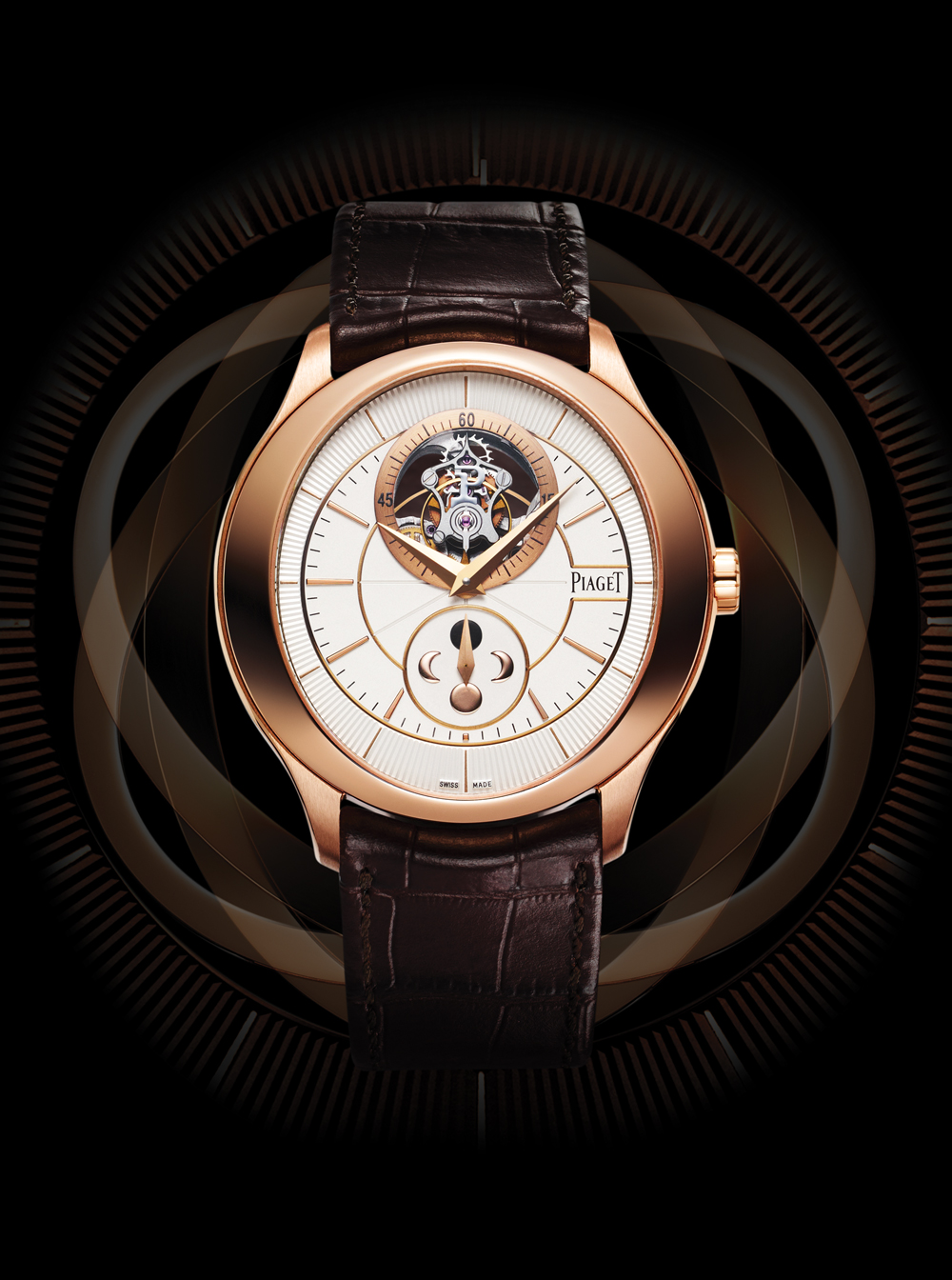 The Piaget Gouverneur Tourbillon is powered by the Piaget caliber 642P manual-winding movement; flying tourbillon and moon phase with 40-hour power reserve.