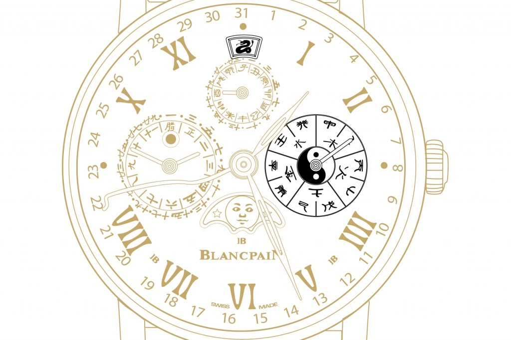 12 o'clock features the zodiac sign of the year in progress while 3 o'clock shows the elements and the heavenly stems (10 year cycle). The combination of 10 heavenly stems and the 12 earthly branches gives the 60 year cycle allowing the wearer to keep track of years, months, days and hours in the Chinese calendar.
