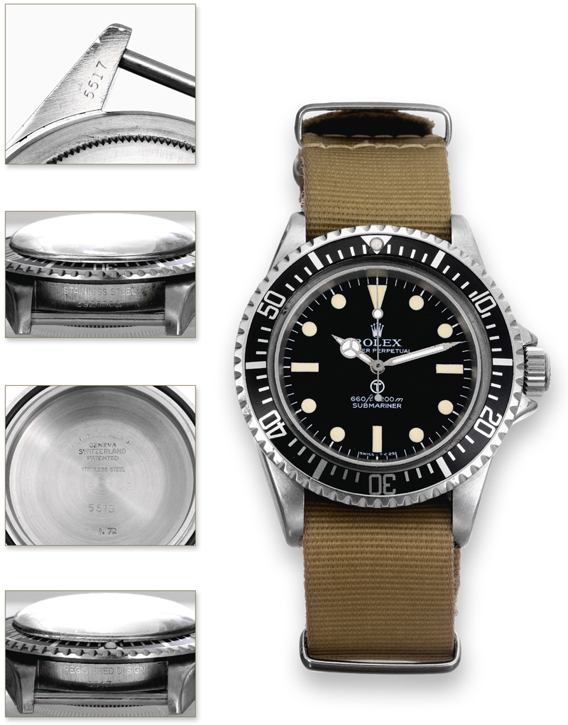 Ref 5517 Military Submariner Rolex made in 1972 for the British Military ©Antiquorum Auctioneers