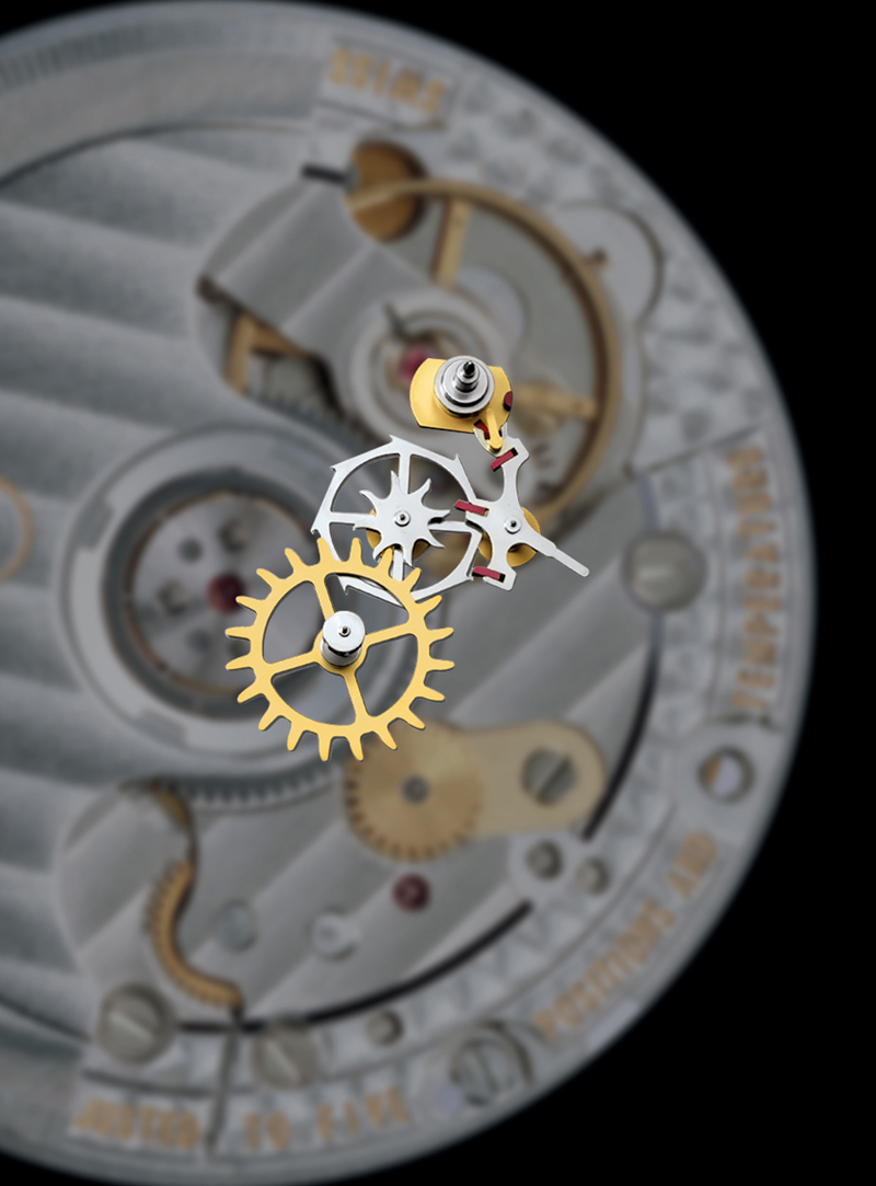 Co-Axial escapement transmits energy using radial impulses. The smaller contact surfaces and the pushing motion, as opposed to the lever escapement's sliding motion, significantly reduce the friction in the escapement.