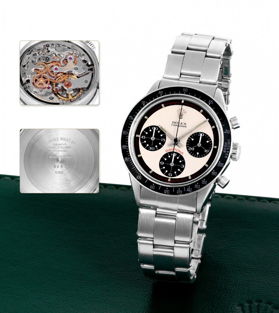 "Ref 6241 Paul Newman Rolex ""Cosmograph Daytona"" with anti-reflective black tachometer bezel. ©Antiquorum Auctioneers"