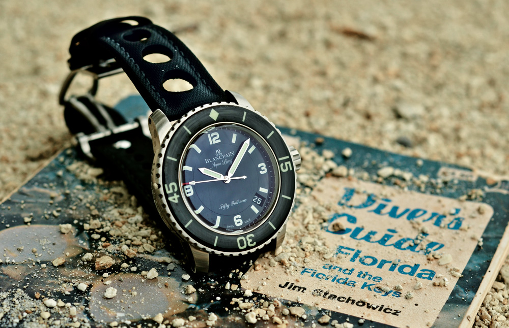 Blancpain has reissued several iterations of its historical and iconic dive watch- the Tribute to Fifty Fathoms Aqua Lung is in reference to the 1960s model inspired by Jacques Cousteau's invention.