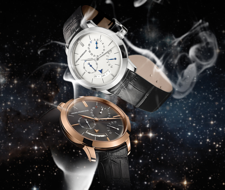 The original Girard-Perregaux 1966 Annual Calendar and Equation of Time in white gold (top) emanates sartorial elegance, while the rose-gold version, with a gray ruthenium dial, speaks in more seductive tones