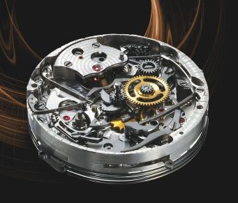 The Audemars Piguet Jules Audemars Minute Repeater Carillon movement, showing the dial-side minute repeater mechanism.