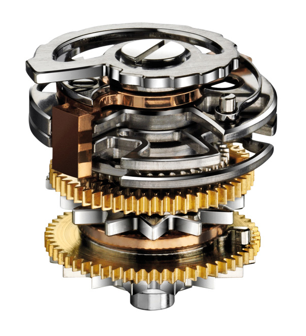 The Infernal Tower of the Jaeger-LeCoultre Hybris Mechanica a Grande Sonnerie combines the minute-repeater snails in a single-tiered tower, and is thus named by the Grande Maison's watchmakers due to its complexity and difficulty to assemble.