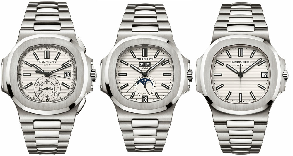 The 2012 Nautilus models come with a casually elegant silver-white dial and include (from far left) the ref. 5980 chronograph, the annual calendar ref. 5726 and the iconic time-and-date ref. 5711.