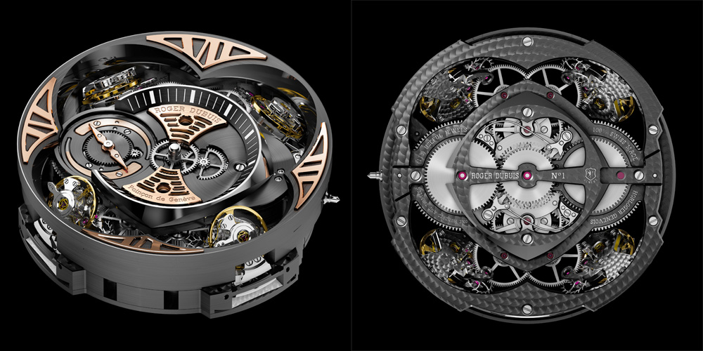 The four oscillators of the Roger Dubuis Excalibur Quatuor are coupled via differentials (one for each of the two oscillators seen on the upper half of the dial, another for the lower two and a third differential for the resultant two averages) to give a heretofore-never-realised stability of rate in timekeeping.