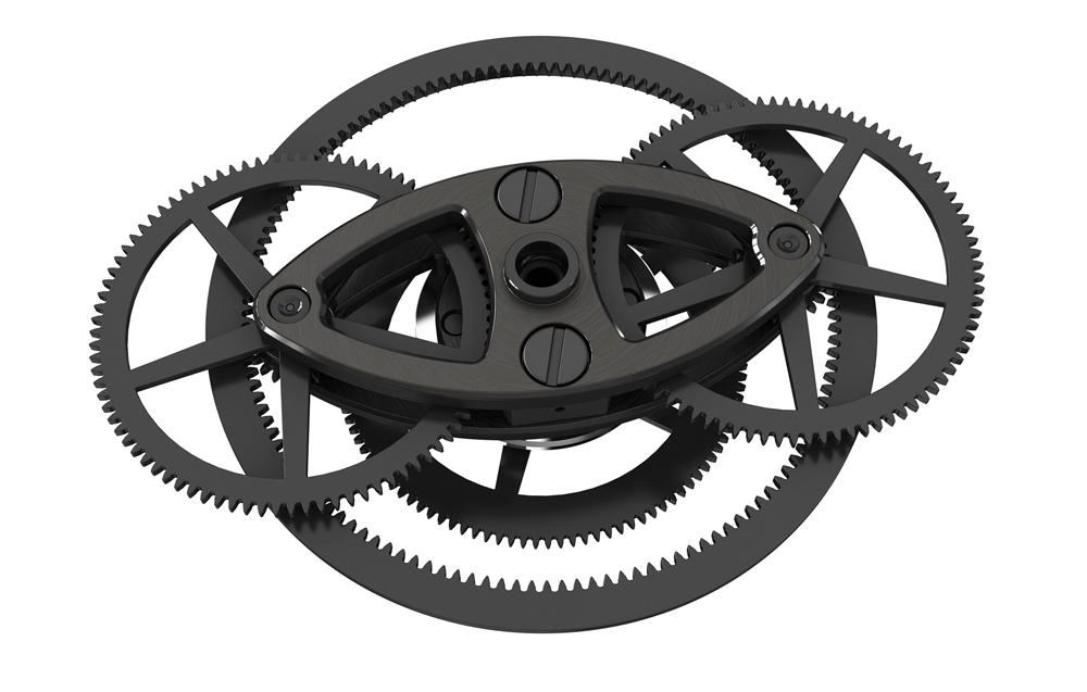 The differential gear system eliminates the problem of side-load in the going train.
