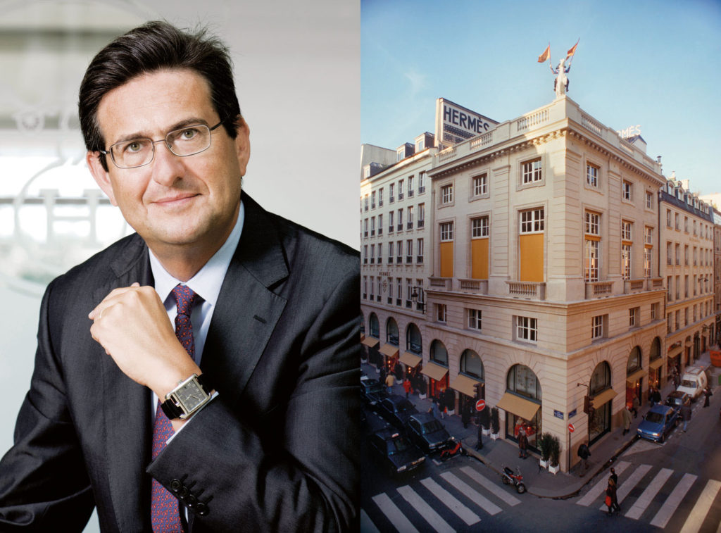 Right: CEO of La Montre Hermes Luc Perramond. Left: The Hermes boutique in Paris