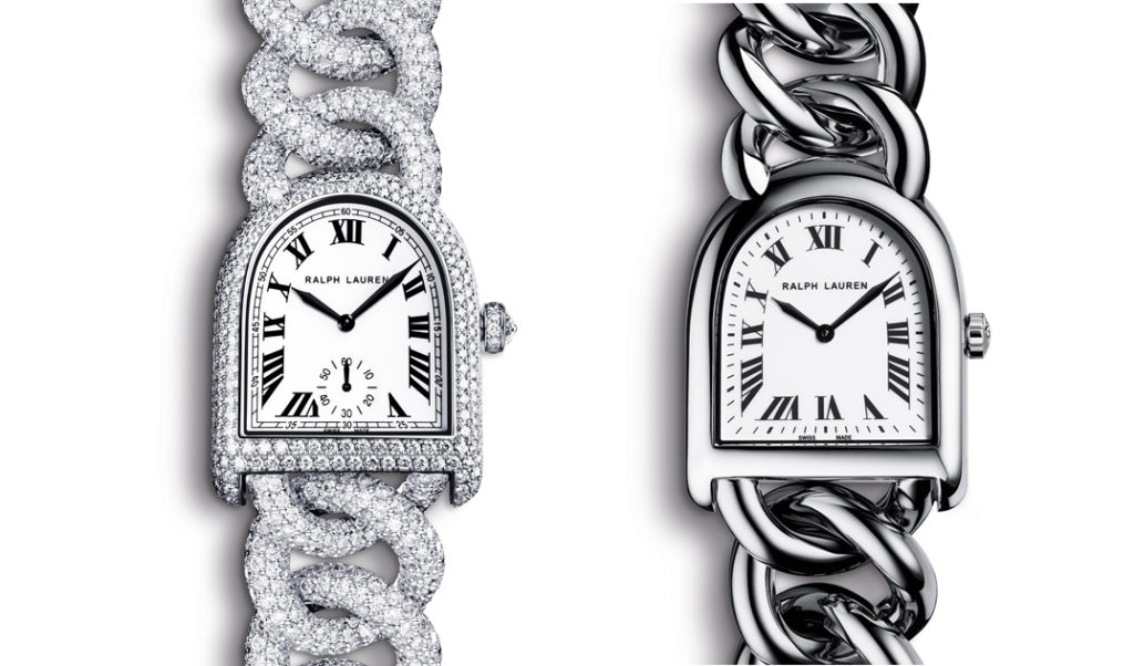 The Ralph Lauren Stirrup Collection: From left: Stirrup Diamond Link and Steel Link