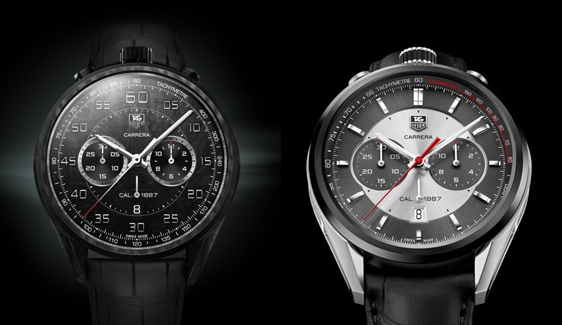 Left: CMC Concept Chronograph side by side with the Jack Heuer Carrera 50th anniversary edition.