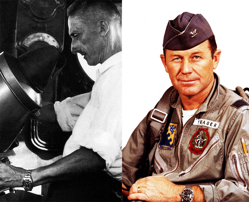 Rolex has always sought association with men who constantly sought to push the boundaries of technological and human limits. In 1953, Captain Cousteau wore the original prototype sans date and Submariner text at 6 o'clock. Chuck Yeager was another luminary Rolex Submariner wearer in 1956.