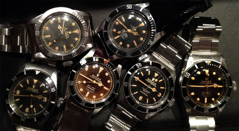 Over 50 years worth of evolution for the Rolex Submariner. How many differences can you spot?