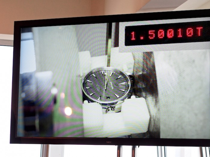 From the presentation: still from Omega video showing the new watch running under a 15,000 gauss field