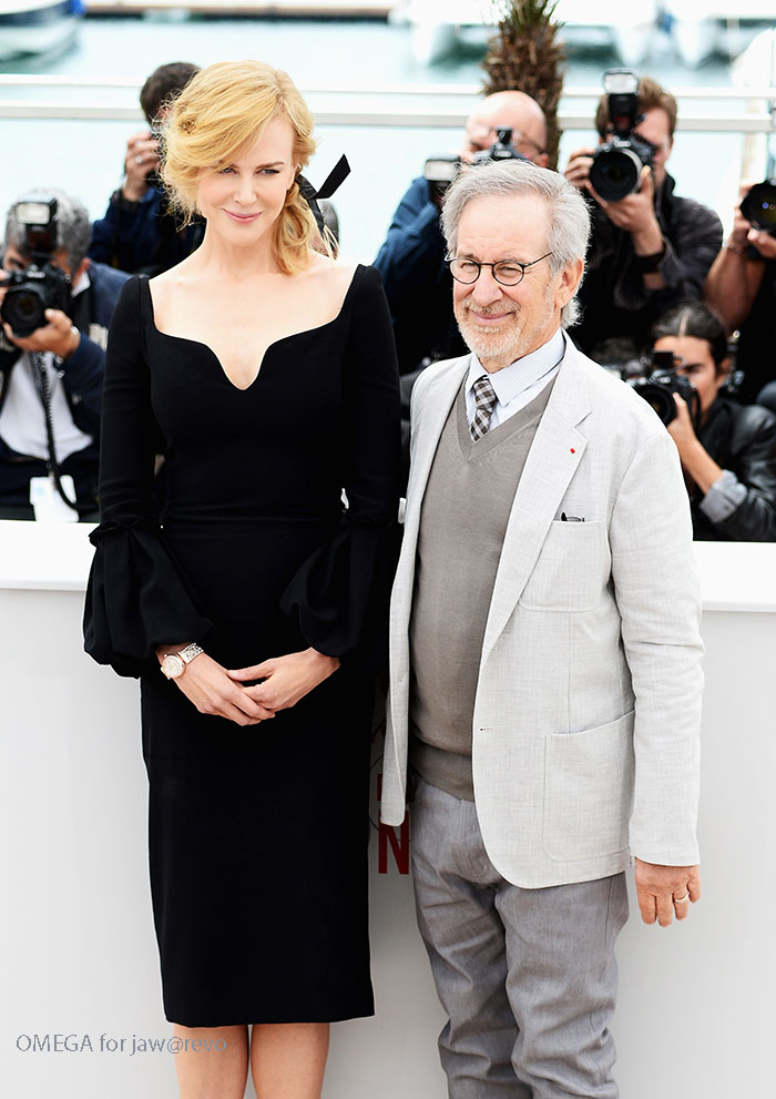 Nicole Kidman wearing OMEGA De Ville Diamonds & Pearls. Here seen with Steven Spielberg at Cannes Film Festival Jury Photocall.