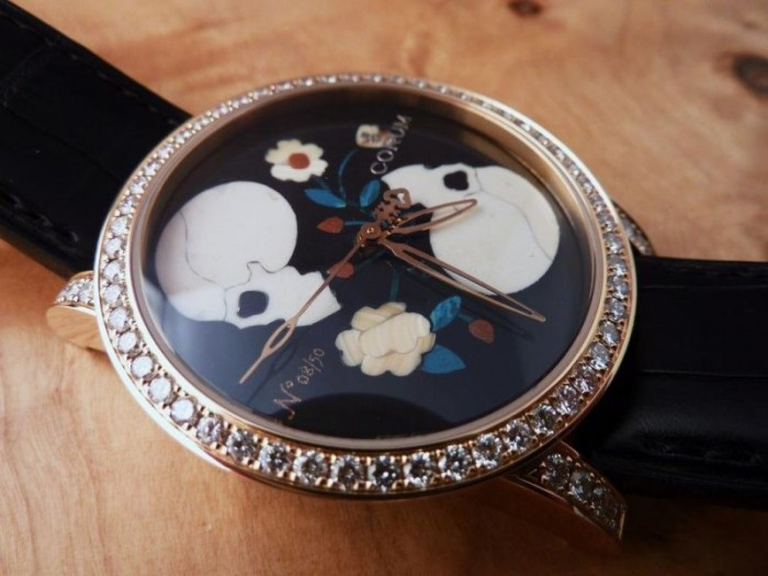 The precious skull dial on the Corum Vanitas