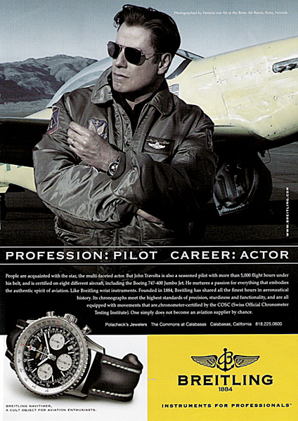 The evolution of watch advertising though the years revolution for John travolta breitling