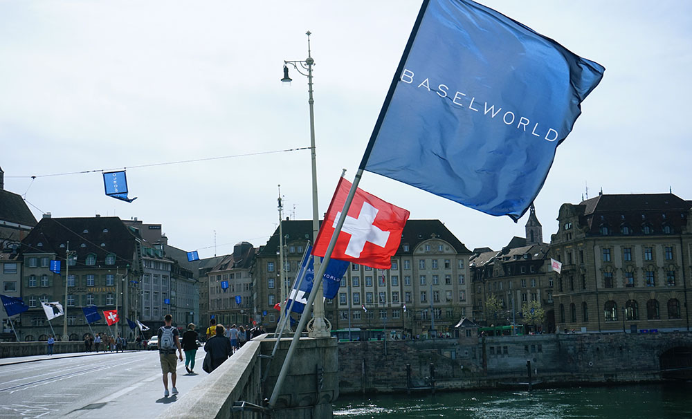 Signs across the city highlight the importance of the Baselworld fair.