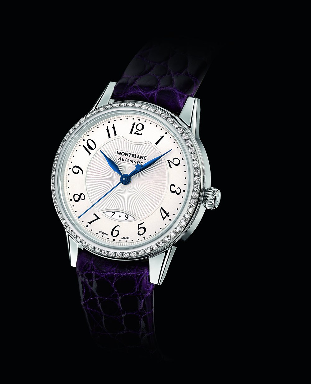 Montblanc Bohème Date Automatic in steel with aubergine strap