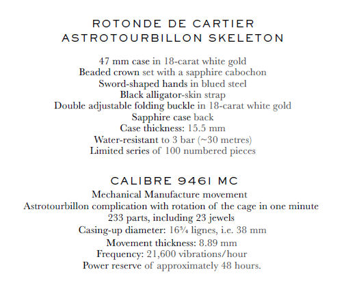 Cartier Astrotourbillon Skeleton specifications