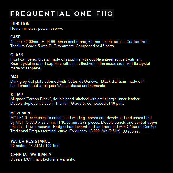 MCT Frequential One F110 specs