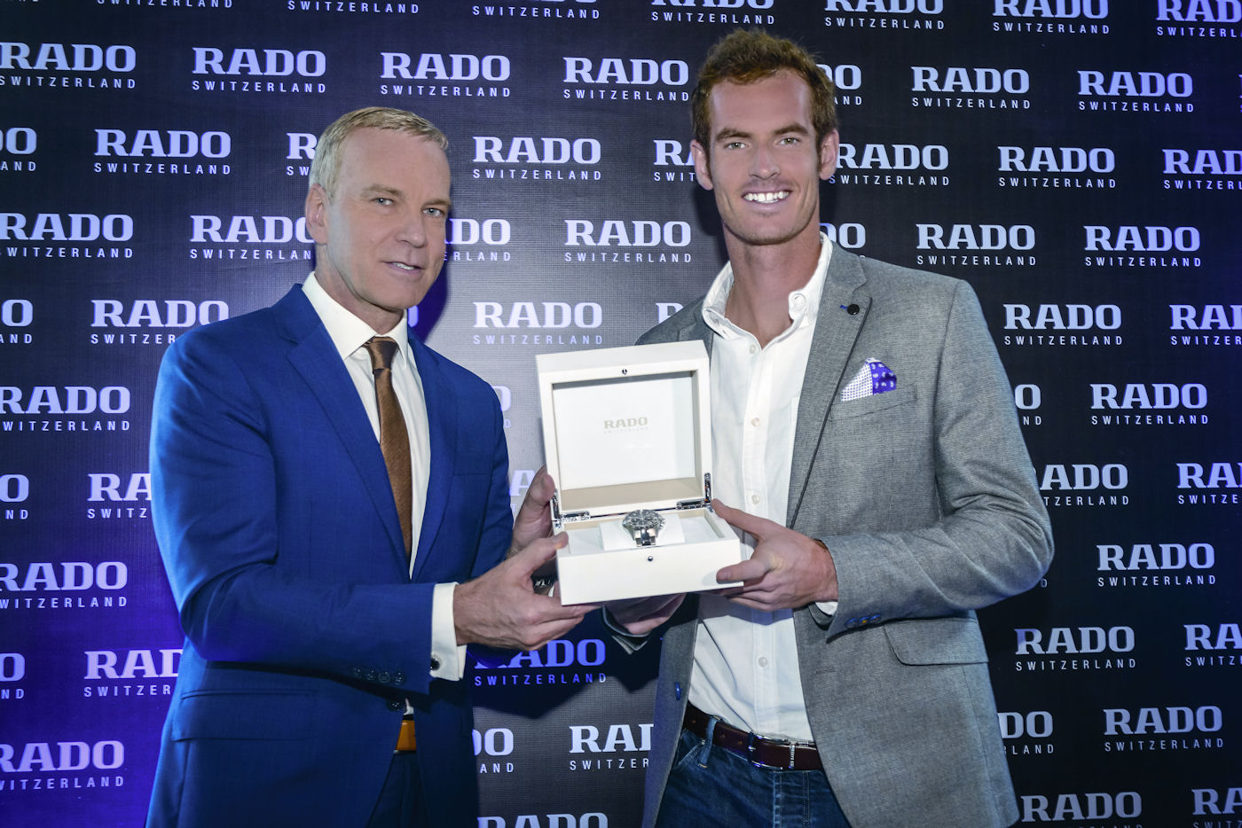 Rado CEO Matthias Breschan presents Andy Murray with his new HyperChrome Match Point.