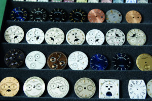 Dials for the various timepieces in the collection