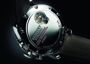 The Type XXII's fast beat escapement can be observed from the exposed caseback