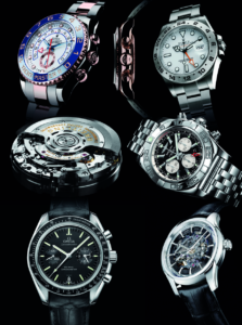 TOP ROW, FROM LEFT The Rolex Yacht-Master II; the Rolex Cosmograph Daytona; the Rolex Explorer II MIDDLE ROW, FROM LEFT The Breitling calibre B04, based on the manufacture calibre B01; the Breitling Chronomat GMT BOTTOM ROW, FROM LEFT The Omega Speedmaster, famed for being the moon mission watch, demands high levels of accuracy, as shown by its COSC certification; the Omega DeVille Hour Vision Co-Axial Skeleton limited edition in platinum