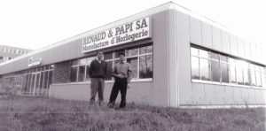 Dominique Renaud and Giulio Papi standing outside the movement company they co-founded in 1986