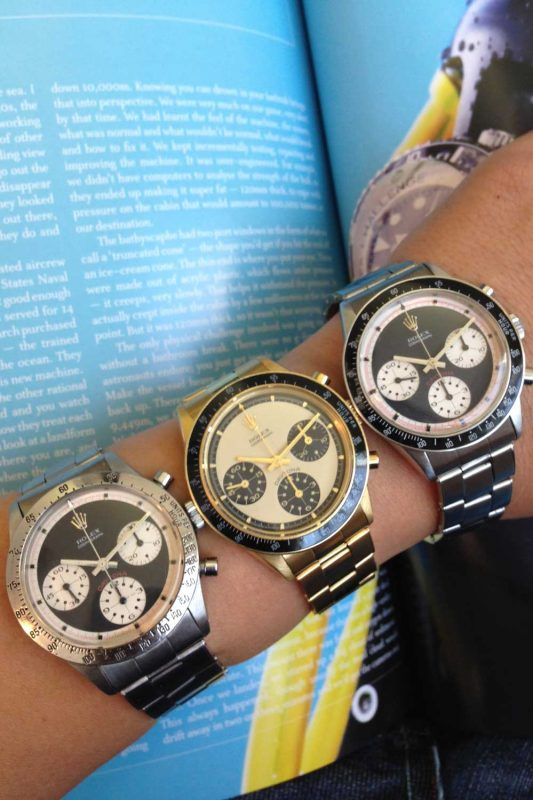 An assortment of Paul Newman Daytonas of the pump pusher variety on Ku's wrist. (Image source: Eric Ku/10pastten.com)