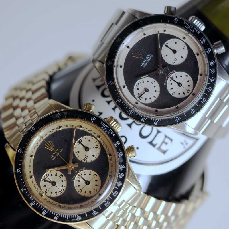 Eric's personal collection of Paul Newman Daytonas: a ref. 6241 in 14k gold and the other a ref. 6241 in steel. (Image source: Eric Ku/10pastten.com)