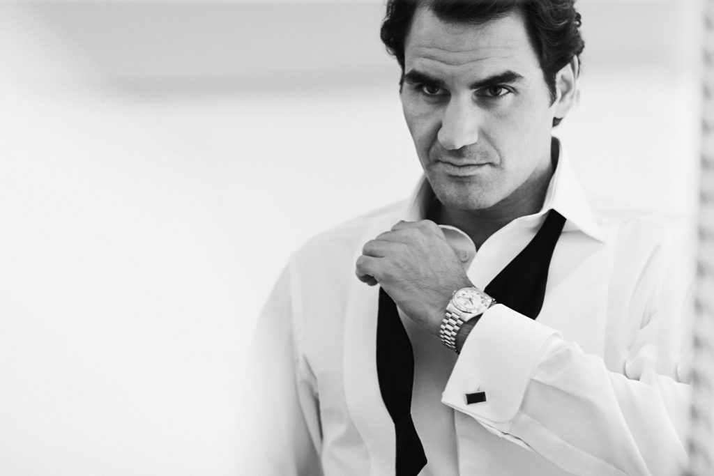 Federer, wearing an Oyster Perpetual Day-Date (Image © Rolex/Chris Storrar)