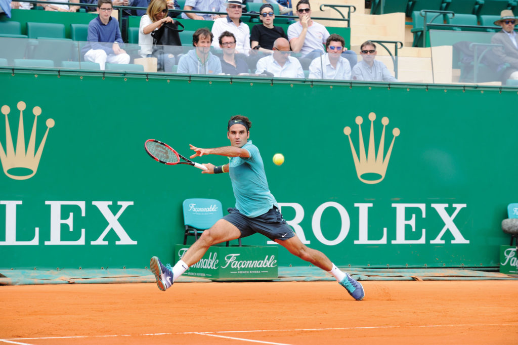 Federer in the semi final of the Monte-Carlo Rolex Masters in 2015 (Image © Rolex/Gianni Ciaccia)