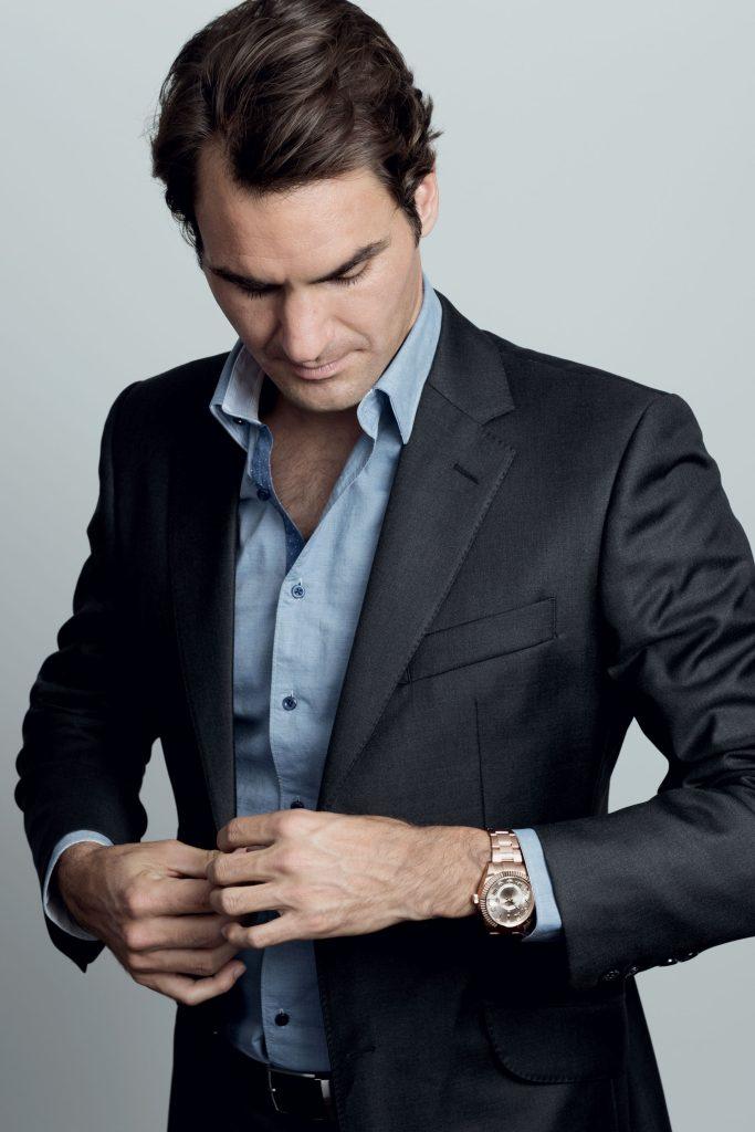Federer, wearing an Oyster Perpetual Sky-Dweller (Image © ROLEX/Sophie Ebrard)