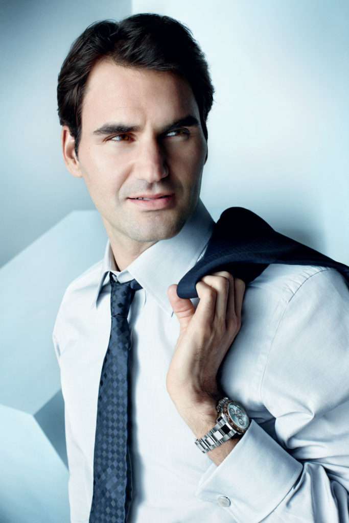Federer, wearing an Oyster Perpetual Cosmograph Daytona (Image ©Rolex/Adam Whitehead)
