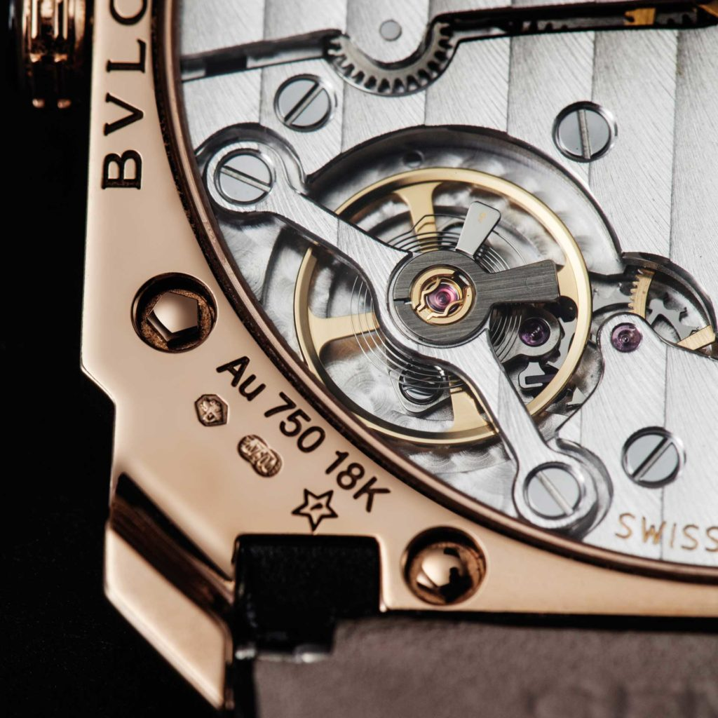 The escapement of the BVL 128 is supported with a balance bridge that's screwed down on both sides, rather than a balance cock, which improves the ultra-thin movement's shock resistance (Image © Revolution)