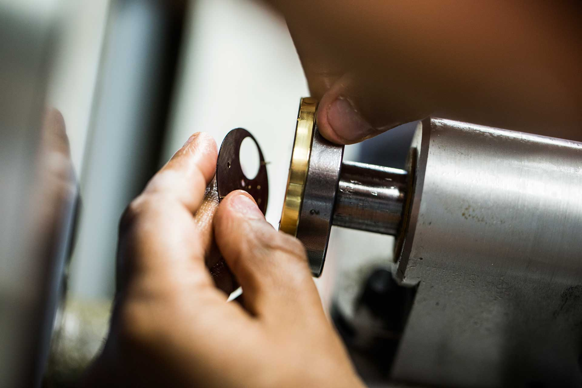 Fabricating and polishing the dial of the Octo Finissimo, which is just 0.3mm in thickness with lacquer applied