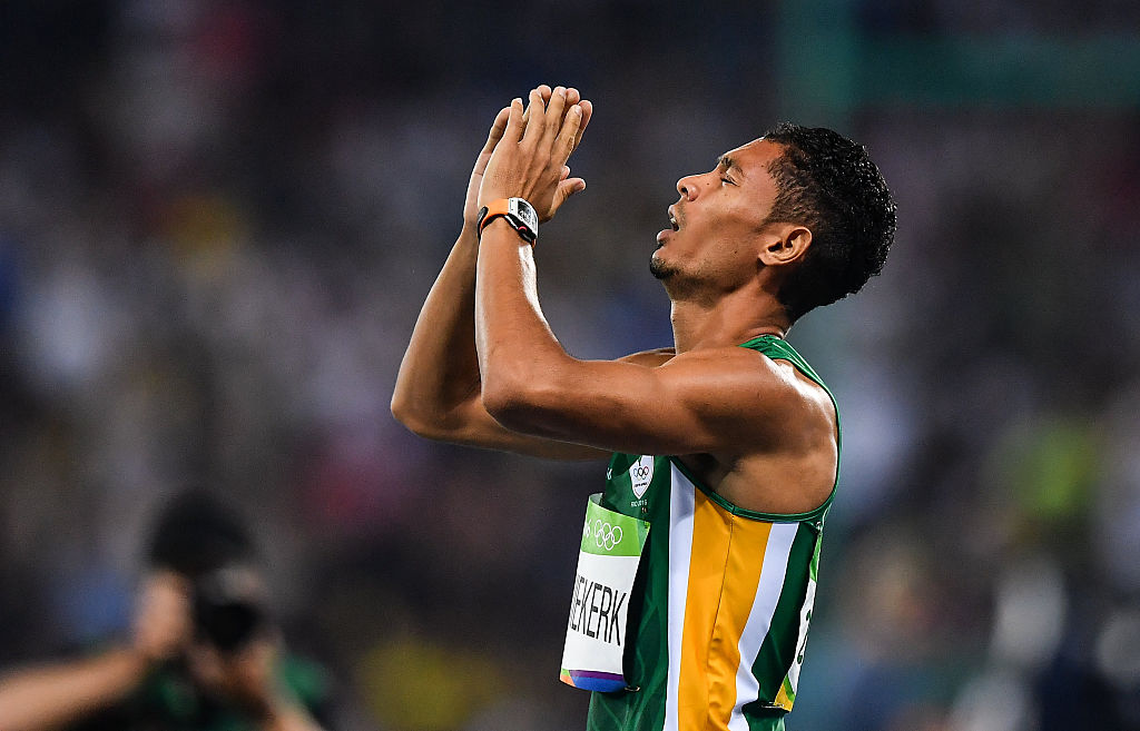 Rio , Brazil - 14 August 2016; Wayde van Niekerk of South Africa celebrates winning the Men's 400m final with a world record time of 43.03 seconds at the Olympic Stadium during the 2016 Rio Summer Olympic Games in Rio de Janeiro, Brazil. (Photo By Brendan Moran/Sportsfile via Getty Images)
