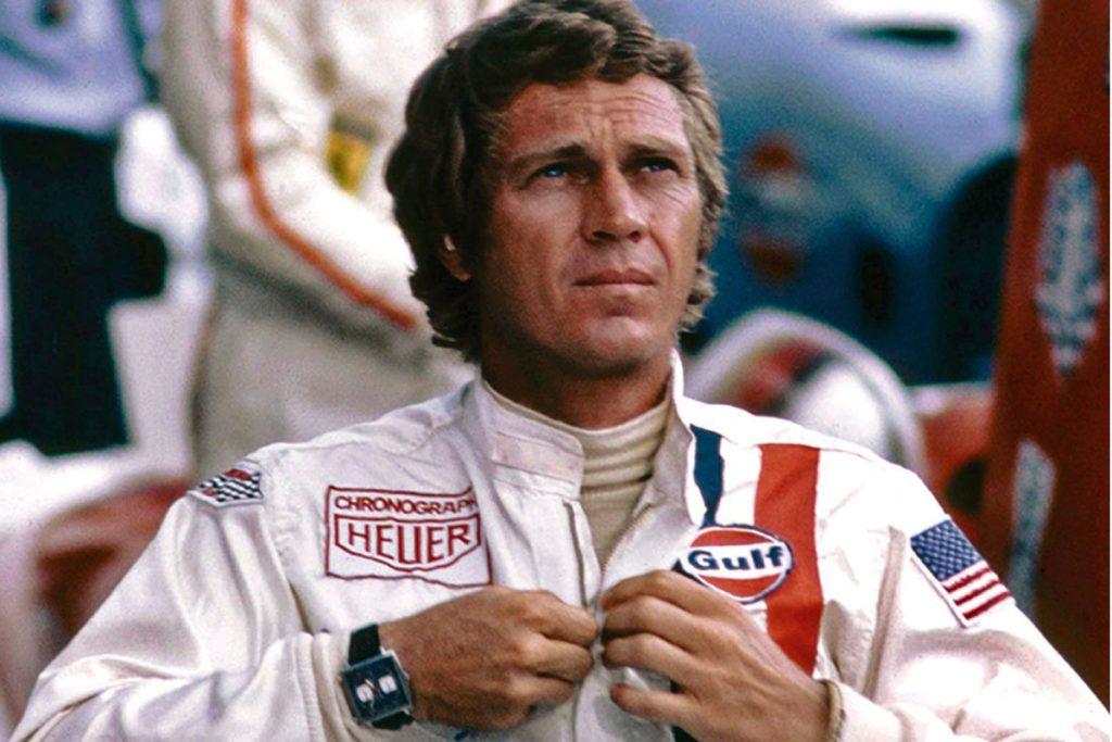 Steve McQueen wearing the Heuer Monaco in a scene from Le Mans (1971).