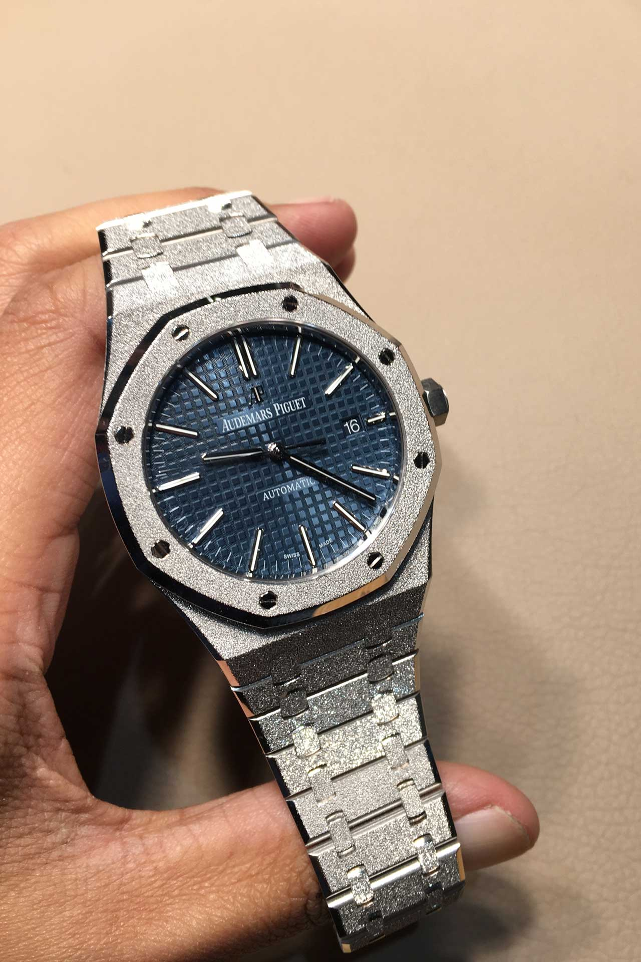 The prototype frosted white gold 41mm Royal Oak