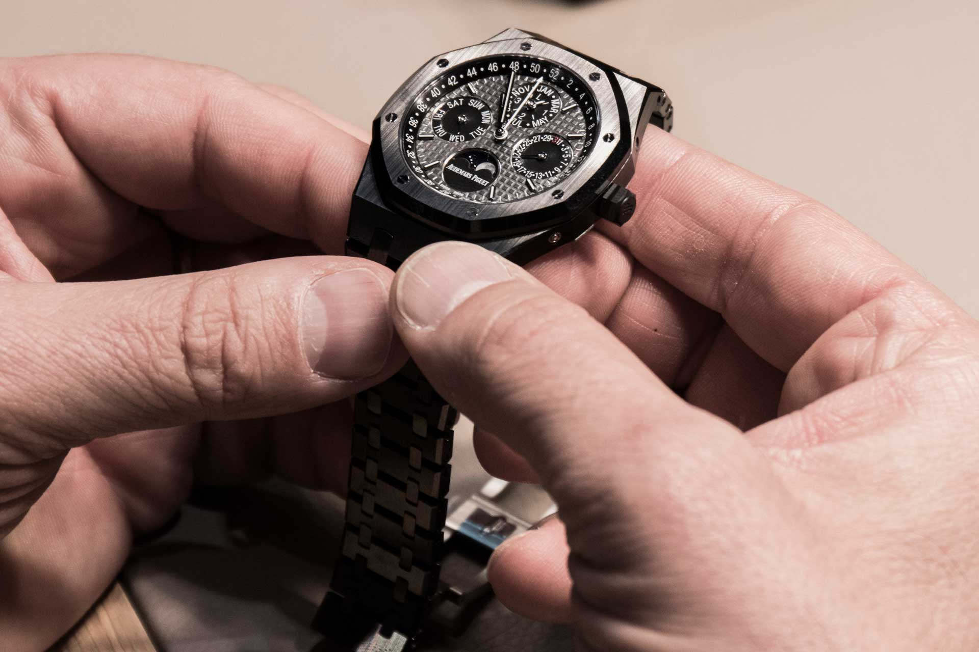 The Royal Oak Perpetual Calendar in hand-finished black ceramic.