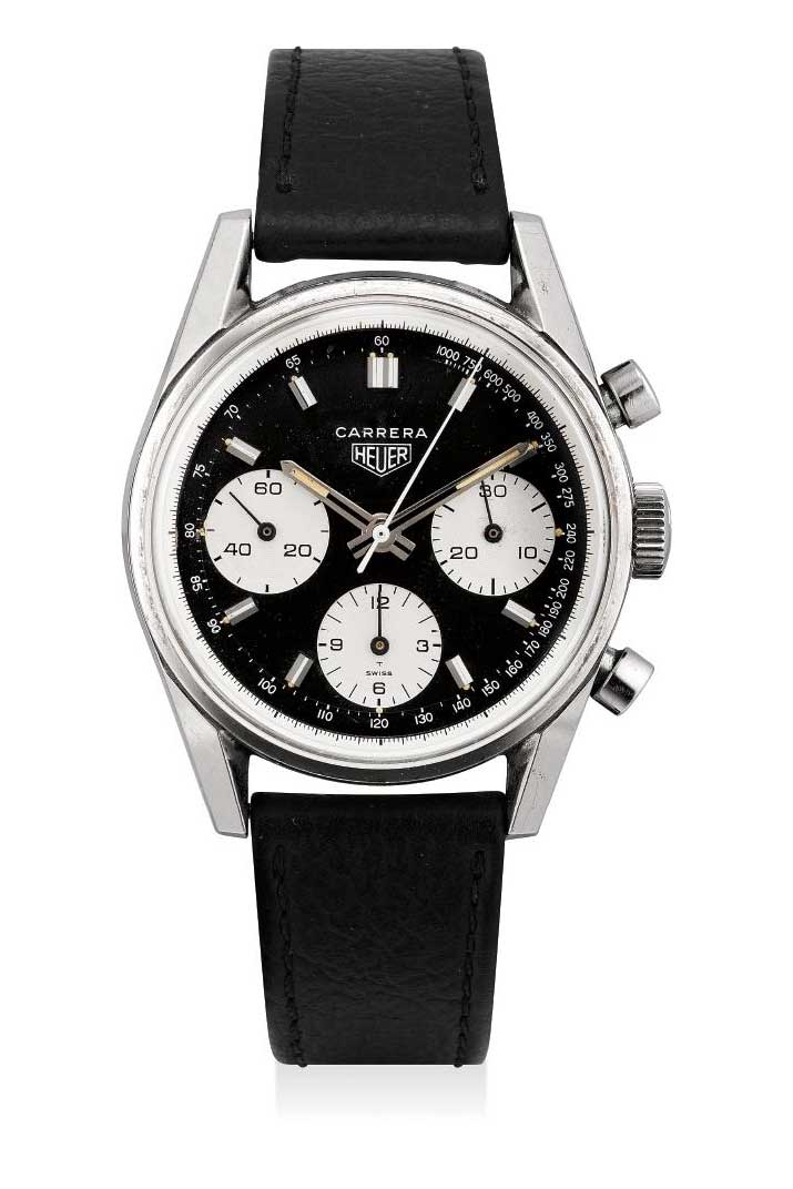 1968 Heuer Carrera Ref. 2447NST stainless steel chronograph wristwatch with tachymetre scale