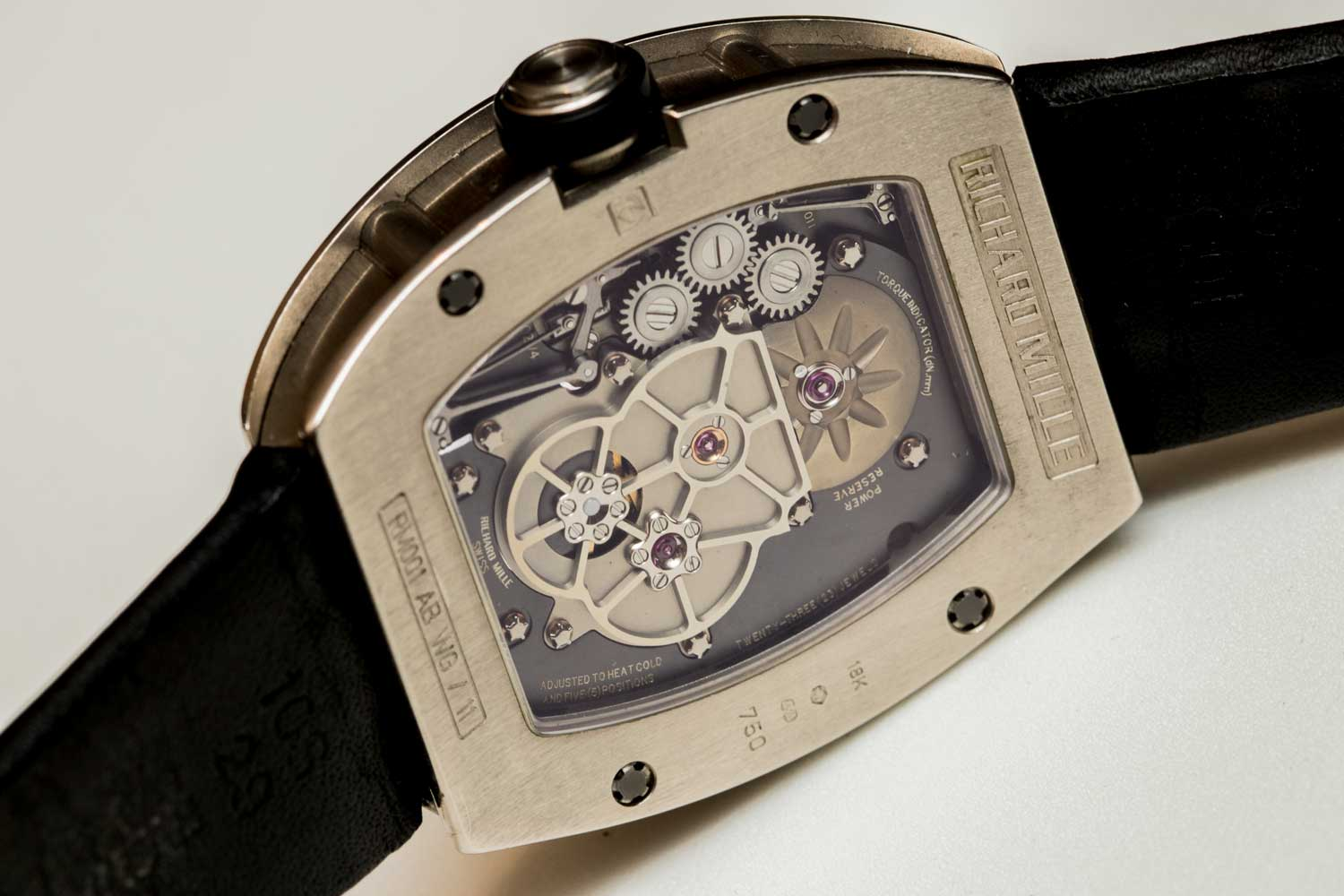 Caseback of the Richard Mille RM 001 Tourbillon No.11, formerly the property of Laurent Picciotto