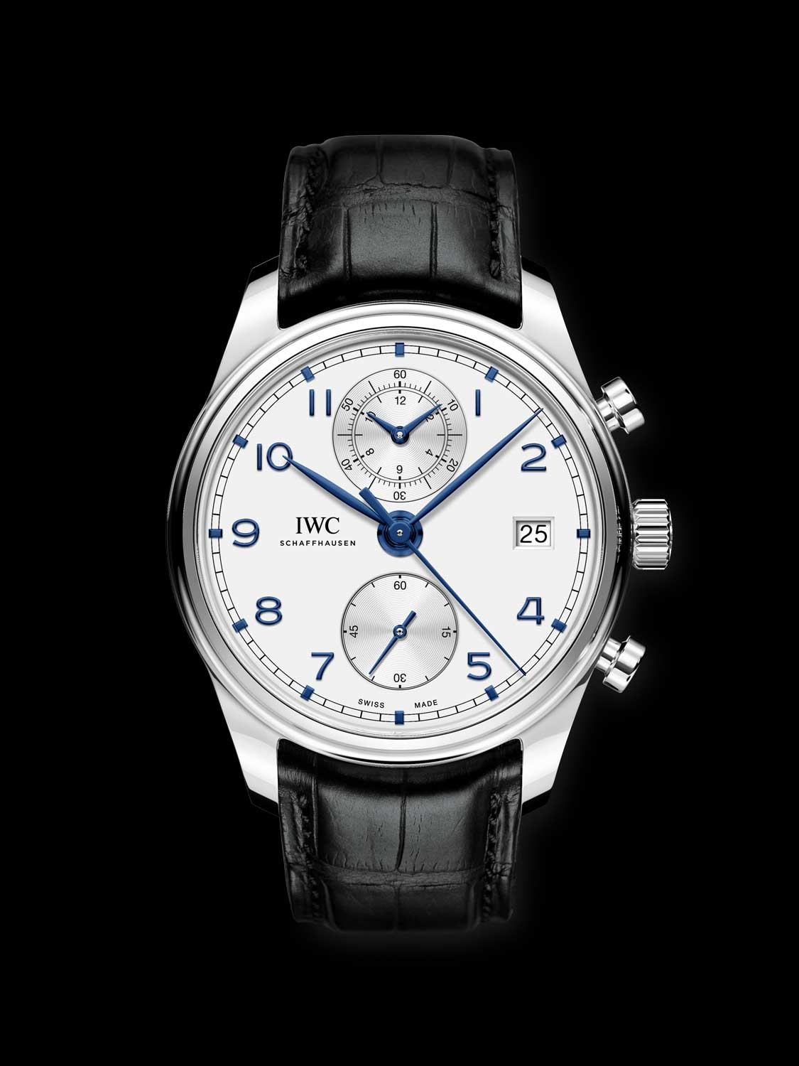 Portugieser Chronograph Classic stainless steel with a silver-plated dial (ref. IW390302)