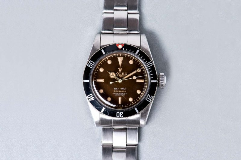 "Rolex ref. 6538 ""Big Crown"" Submariner from 1959 (aka ""James Bond Submariner""), with 4-Liner tropical dial"