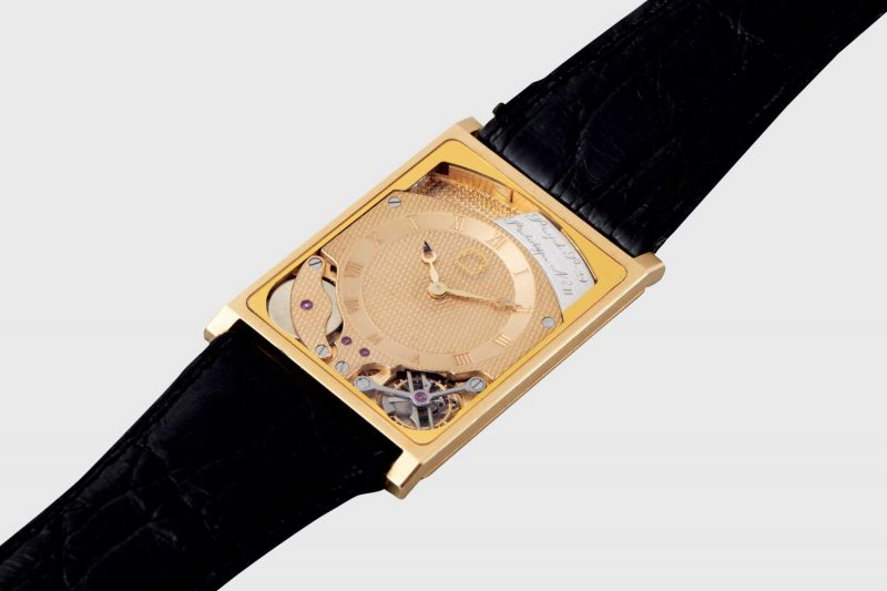 With this prototype, Beyner and Grimm succeeded in pushing watchmaking's boundaries, producing the world's first automatic-winding, ultra-thin tourbillon. At only 2.7mm thick they established a record by integrating the movement with the case back (Picture courtesy of Phillips)